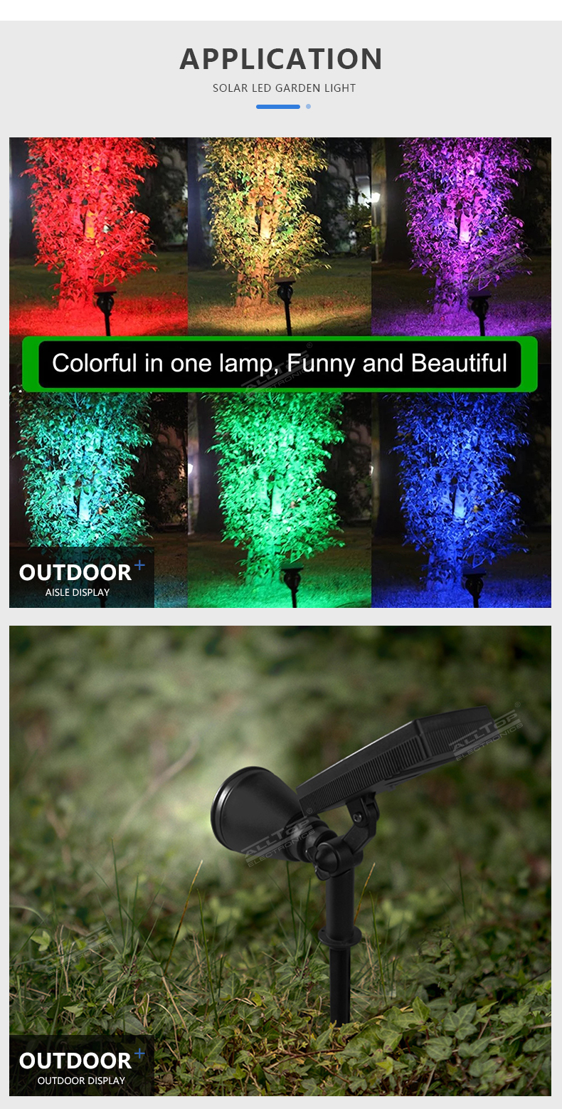 ALLTOP Super brightness outdoor adjustable IP65 waterproof lighting 4w courtyard RGB solar LED spike light