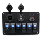 5PIN Dual-lamp 6-bit Switch+Cigarette Lighter Base+Dual USB+Voltmeter Combination Panel