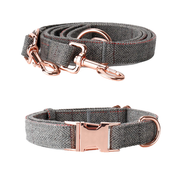 Free sample Best seller of Heavy Duty tweed wool fabric for Dog Collar And Leash Set with Rose Gold in all season
