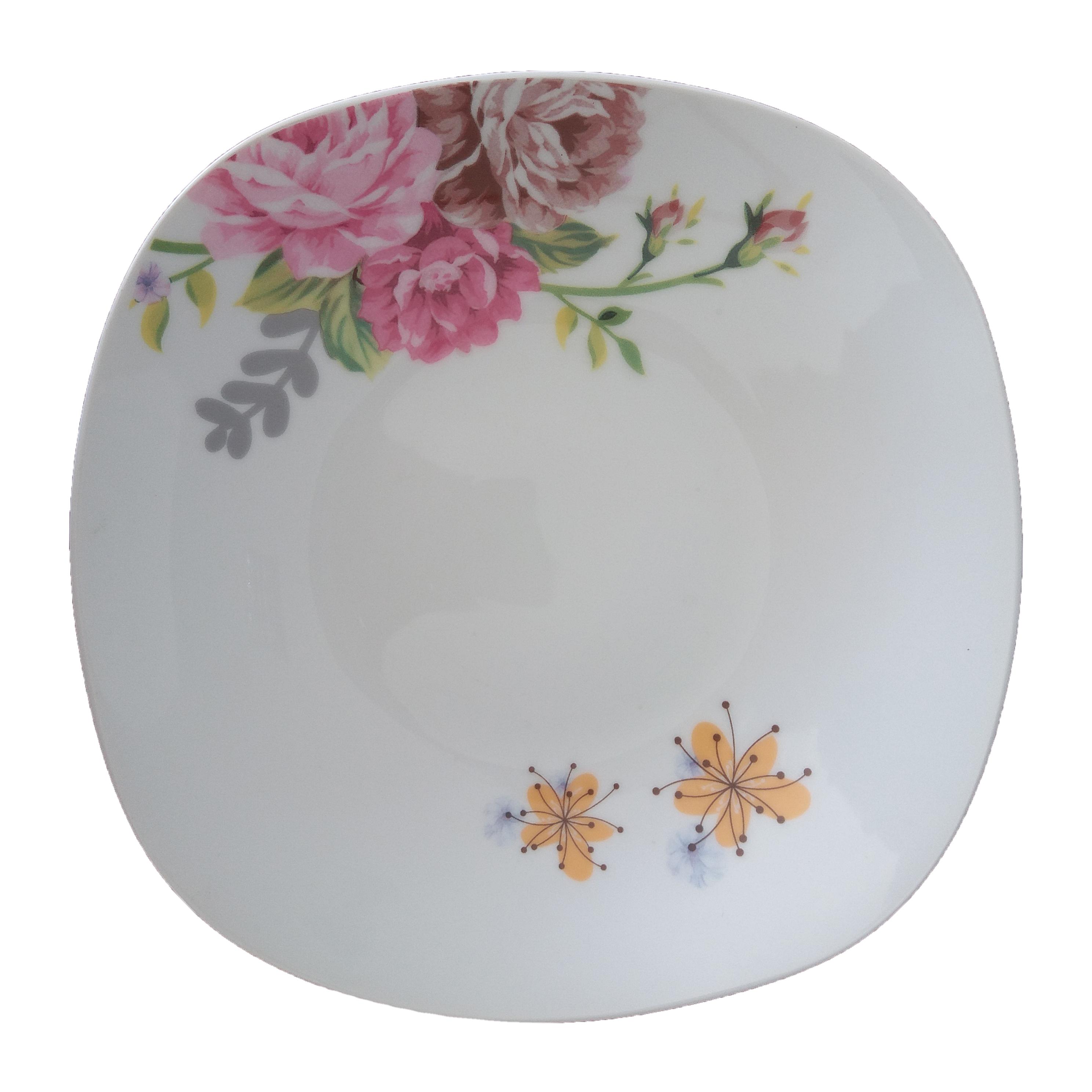 Service d'assiettes à soupe carrées en céramique et porcelaine, vaisselle de assiettes pour soupe et vaisselle de 9 pouces