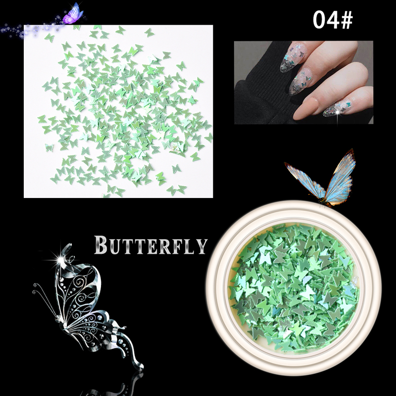 2020 hot sale 6 colors mixed butterfly sequin nail art decoration butterfly nail glitter sequins