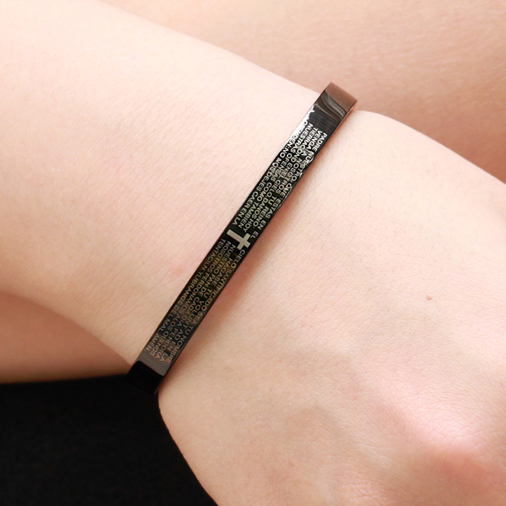 Fashion Design Stainless Steel Black Couple Bangle Lettering Cross Scripture Cuff Bangle For Couple