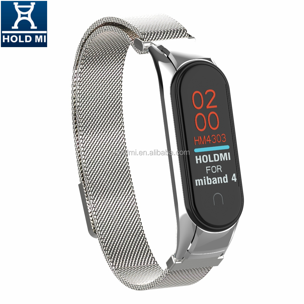 ODM holdmi new 43036 series silver color stainless steel milanese strap for xiaomi mi band 4 & 3