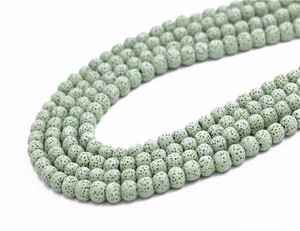 2019 online shop china wholesale 8mm natural stone green lava loose gemstone beads for jewelry making