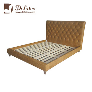 Bespoke Brown Double Antique Leather Bed With Buckle Design High Back
