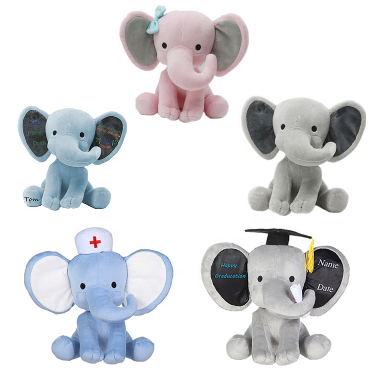 grey plush and stuffed elephant toys with big ears Wholesale custom cheap cute soft elephant plush toy