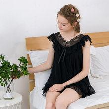 Летние кружевные пижамные комплекты для женщин, домашняя одежда, повседневная винтажная пижама из 2 предметов, сексуальная ночная рубашка, ...(Китай)