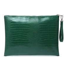 Модная большая серая сумка для ноутбука из питона, сумка-клатч на молнии, сумка-конверт из крокодилового страуса, сумочка-кошелек(Китай)