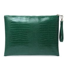 Женский Большой Кожаный клатч, сумка-конверт из крокодилового страуса, сумка-браслет, модная сумка для ноутбука из питона, сумка для Macbook(Китай)