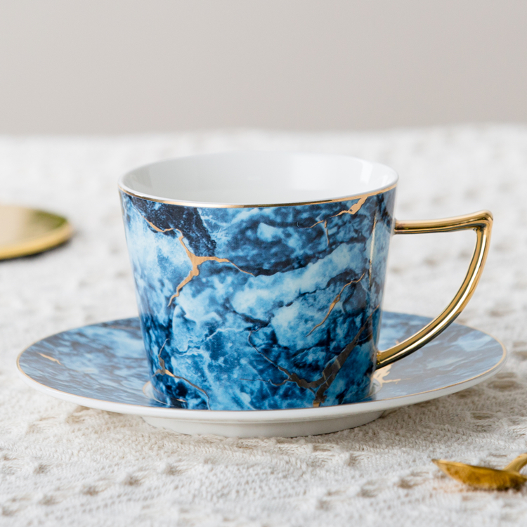 Unique white marble gold rim porcelain tea mug ceramic coffee cup and saucer