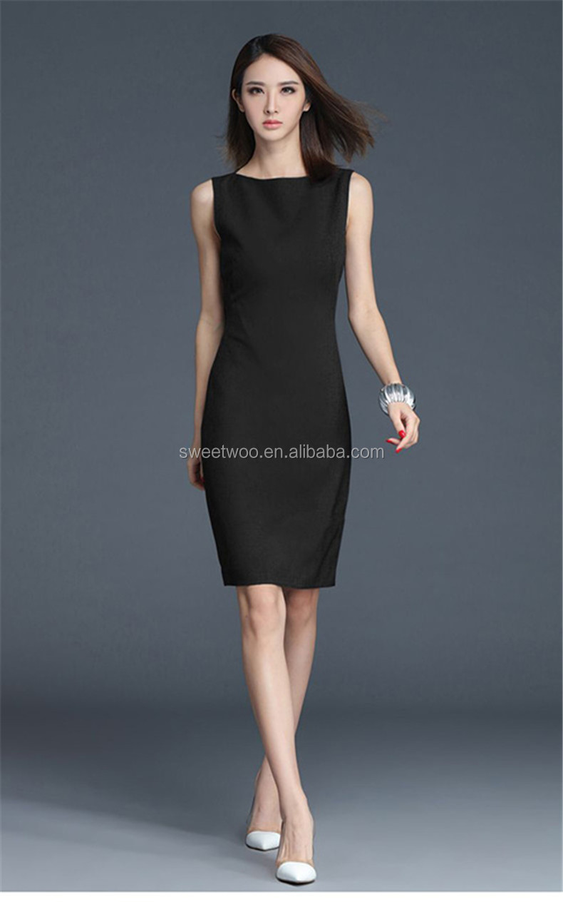 2019 New Summer Office Dress Women Elegant O-neck Sleeveless Knee Length Black Grey Wear to Work Sheath Ladies Dresses