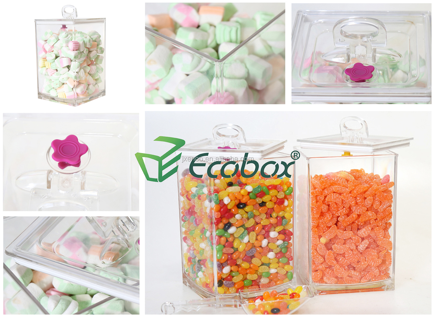 Ecobox supermarket and retail store Transparent plastic bulk food  bins dry food cereal coffee beans candy bin