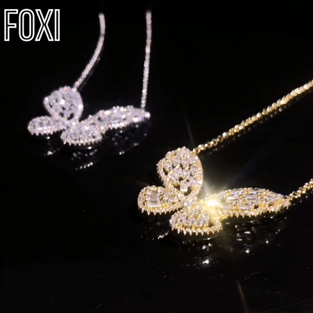 Tipis Rantai Icednout Butterfly Perhiasan Liontin Kalung