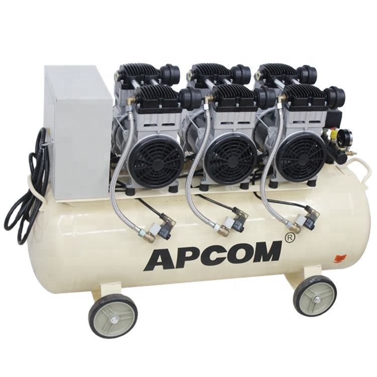 Oilfreeaircompressor APCOM EX1500 * 3-120 4,5 kw Dental Öl Freies Silent Air Kompressor mit 120L Tank