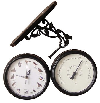 Antique double sided station clock/garden decoration two sided wall clock with thermometer