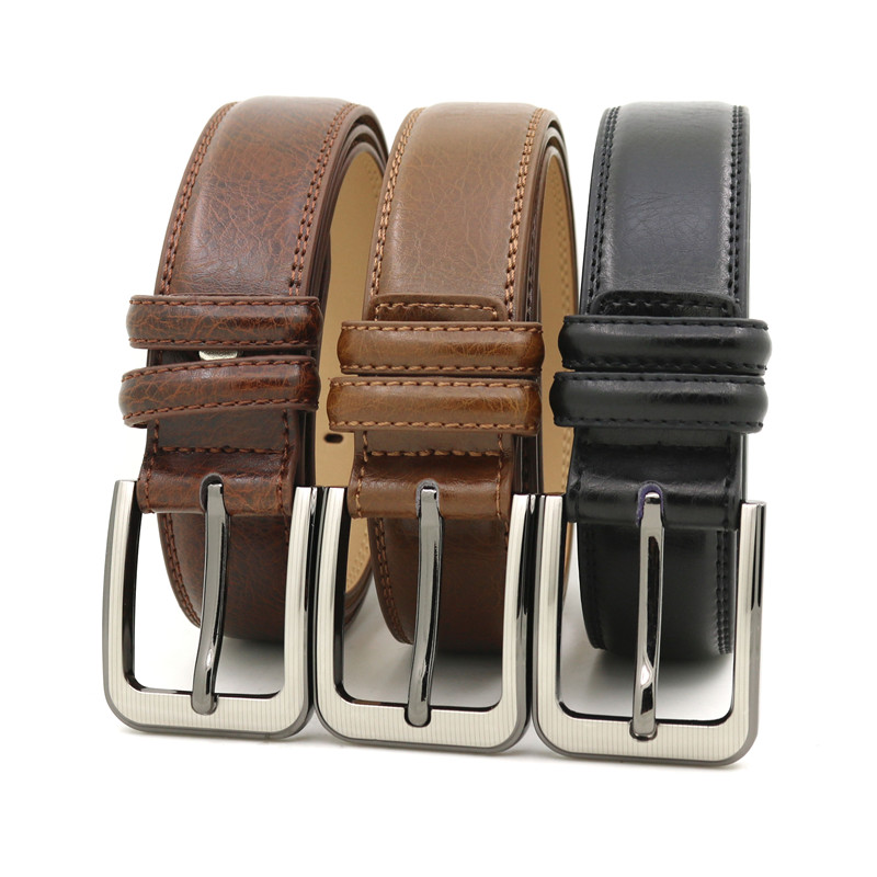 LQbelt Fashion Genuine Leather Belts Men's pin buckle belt wholesale 100%Factory custom belts for men