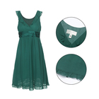 MANULENA Latest Design Summer Sexy Women Emerald Green Ruffled Sleeveless Lace Hem 100% Silk Lady A Line Dress