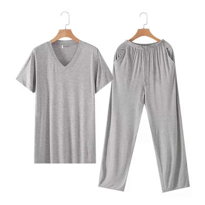 Men's Sleepwear Thin Short Sleeve Pants Set Loose Home Clothes