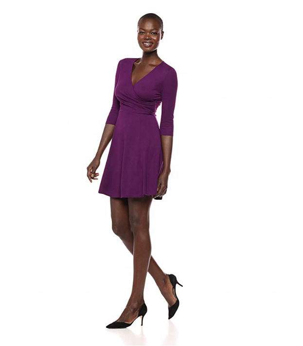 Women's Three Quarter Sleeve <strong>Faux</strong> <strong>Wrap</strong> Fit and Flare Dress