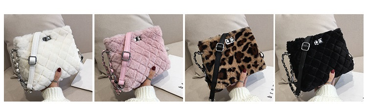 Plush small square bag Korean version of the chain bag with one shoulder cross - body bag