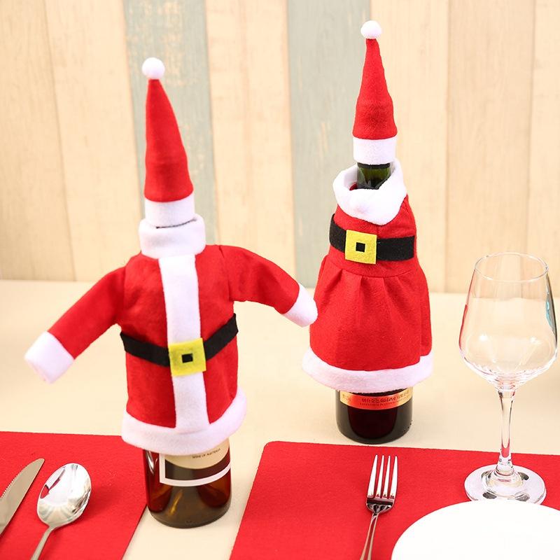 Noël articles ménagers ensemble de bouteille, bouteille De Noël décoration vêtements jupe deux table vin bouteille vêtements