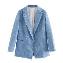 Женский твидовый двубортный Блейзер KPYTOMOA, винтажный потертый пиджак с длинным рукавом, верхняя одежда для офиса, 2020(Китай)