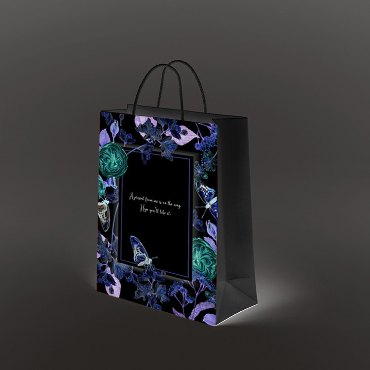 product-2020 new product dark black custom printed on glossy paper small black paper bag gift bags w-1