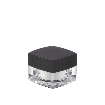 30g 50g luxury clear square double wall acrylic jar with black lid