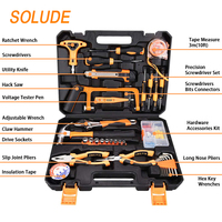 SOLUDE Home Repair Tools Sets,92 Pieces Saw Screwdrivers Sets General Household Hand Tool Kits with Plastic Toolbox Storage Case