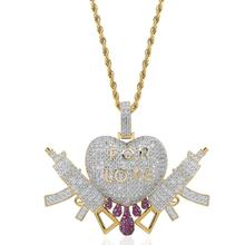 Hiphop Iced Out Doppio AK47 Del Cuore Inciso Per Pendente Della <span class=keywords><strong>Collana</strong></span> di <span class=keywords><strong>Amore</strong></span>