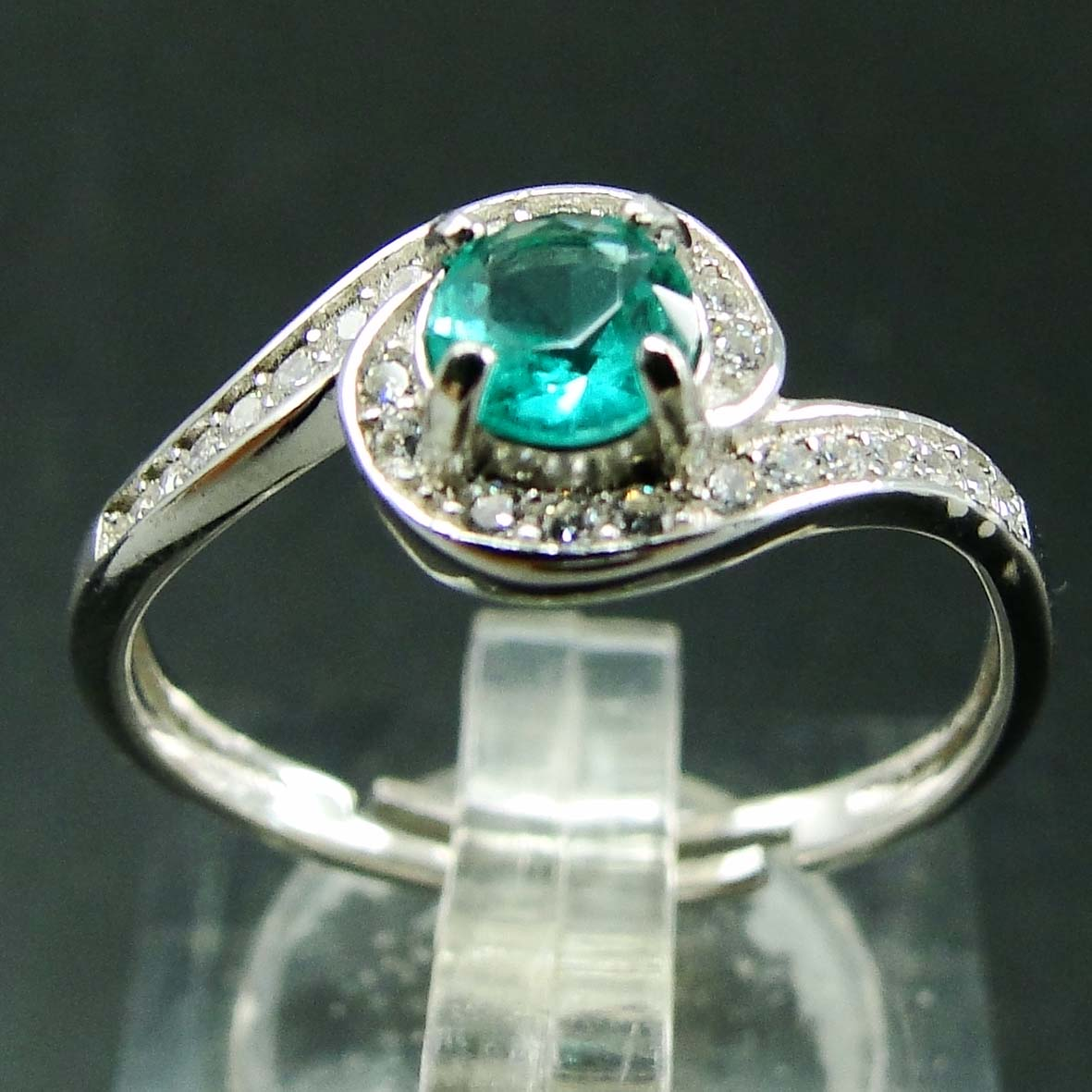 Beautiful Gemstone Natural Green Spinel Jewelry Rings Size Free Woman Resizable Wedding Ring in 925 Sterling Silver Jewelry