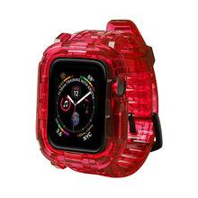Чехол + ремешок для Apple Watch Band 5 4 3 44 мм 40 мм 42 мм 38 мм мягкий прозрачный силиконовый браслет Резиновая лента IWatch серия 5 44 мм(Китай)
