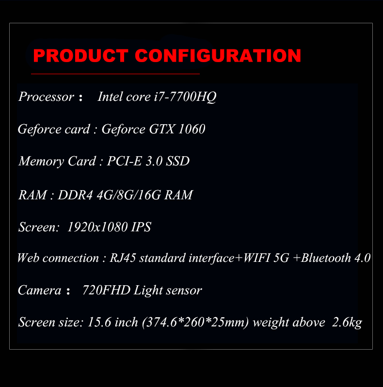 hot sale 15.6 inch  toposh  i7-7700HQ 8G RAM 1024G SSD  good quality notebook laptop