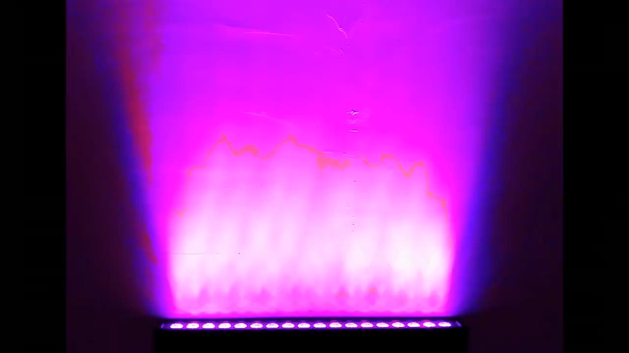 Pendinginan Yang Baik 18Pcs 3W RGB 3in1 LED Wall Washer Aluminium Ringan untuk DJ Panggung Konser Pesta bangunan