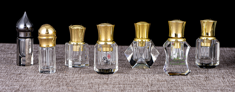 50ML 100ML diamond shaped dark gray crystal decorative attar perfume bottles