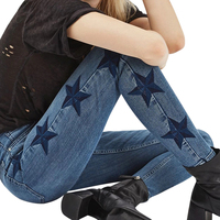 Explosion Ladies Stars Pattern Comfortable Denim Pencil Pants Spring Skinny Embroidered Elastic Jeans Women