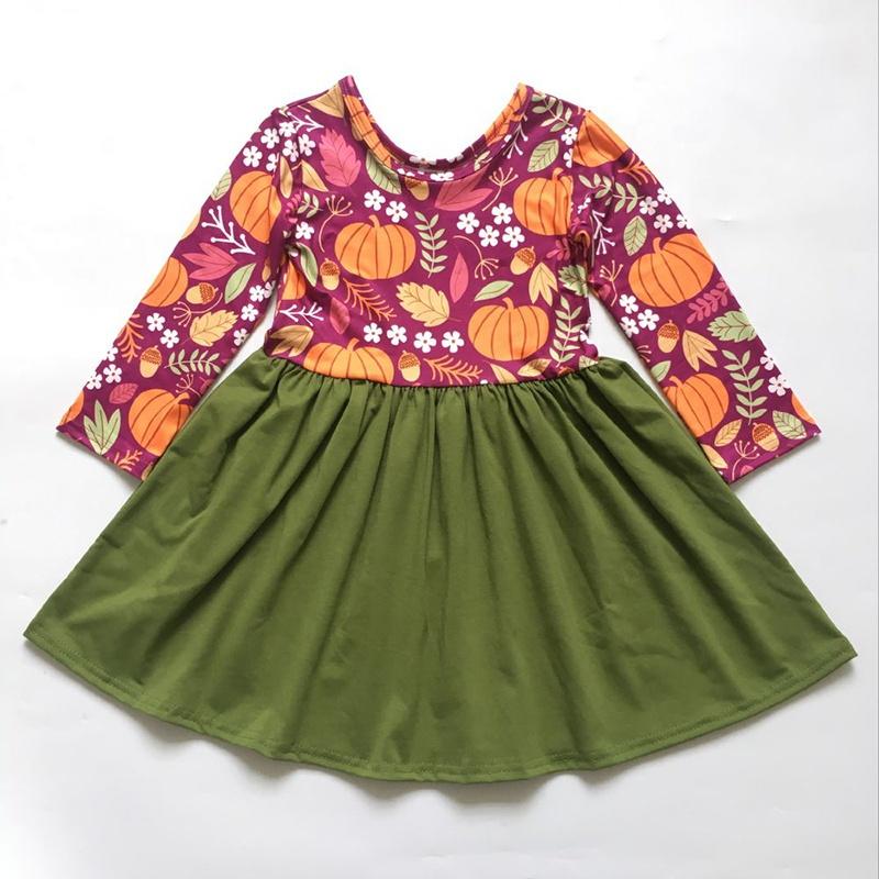 Sẵn Sàng Để Tàu Dài Tay Áo Kinted Bông Trẻ Em Boutique Bí Ngô Bé Cô Gái Mùa Thu Mùa Đông Quần Áo Trẻ Em Halloween Twirl Dresses