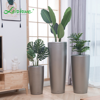 Leizisure Garden Decorative Big Size Tall Modern Chinese Manufacturing Self Watering Plastic Flower Plant Pot