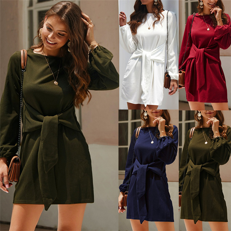 2019 New Autumn Winter Women's Dress Long Sleeves Belted Solid Color Ladies casual dresses