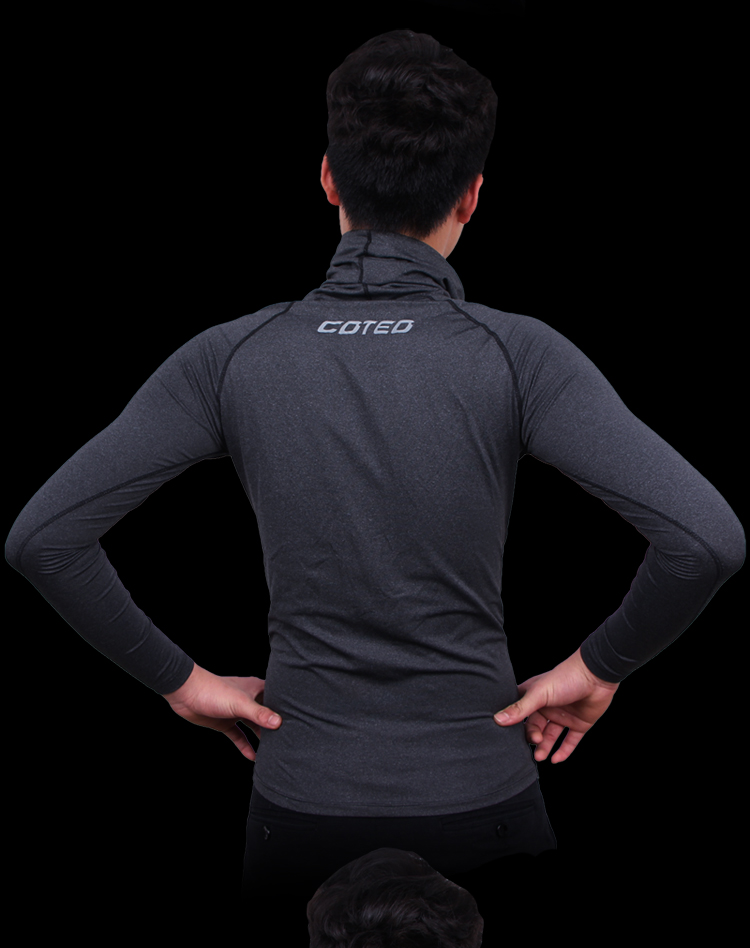 High Quality Lycra Compression Shirts Black Pure Color Gym