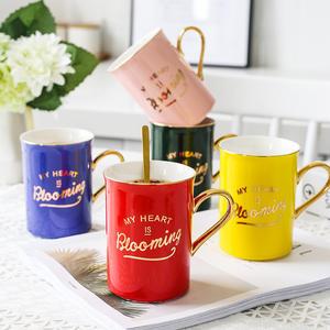 Customized Luxury Porcelain Mug with Gold Handle for Wedding/Gift