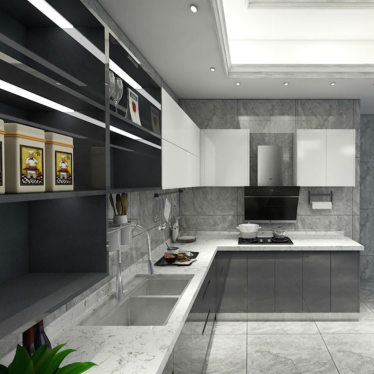 고광택 주방 캐비닛 현대 회색 캐비닛 흑백 벽 캐비닛