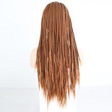 RONGDUOYI Ombre волокно волос Синтетический кружевной передний парик Длинные два тона черный/красный цвет плетеная коробка косички передние круж...(Китай)