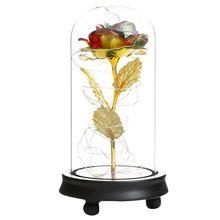 Красная роза в стеклянном куполе светодиодный романтическая стеклянная роза искусственные Искусственные цветы свадебное украшение для до...(Китай)