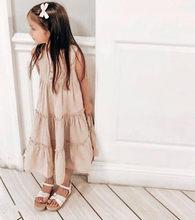 Одежда для маленьких девочек, лето 2020, однотонное платье для девочек, Повседневное платье для маленьких девочек, хлопковое льняное платье п...(Китай)