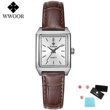 WWOOR повседневные нарядные часы для женщин модные женские часы с квадратным маленьким циферблатом элегантные кожаные кварцевые наручные ча...(China)