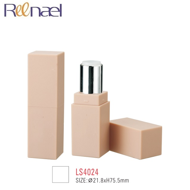 Private label beige pink nude lipgloss lipstick cases rectangle plastic cosmetic tube packing container