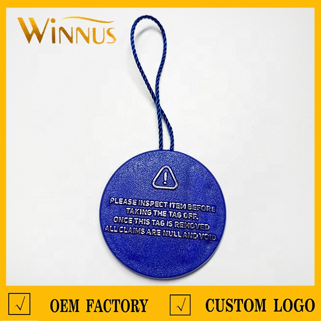 custom 3d embossed brand name logo sneaker lockable round plastic seal hangtag shoes watch hang tag for watch shoes bottle