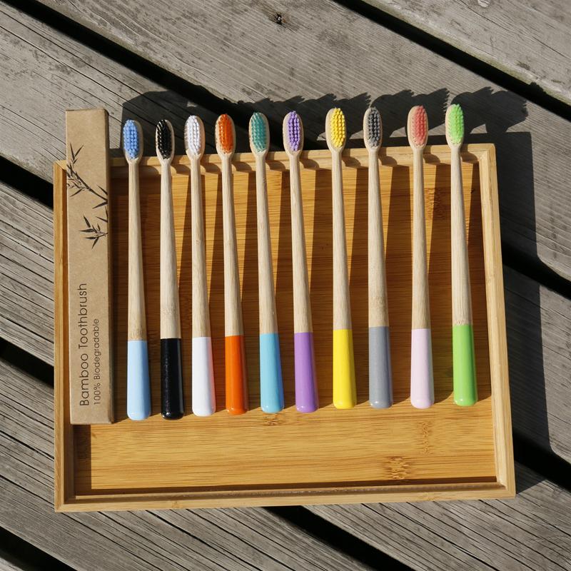 Cepillo De dientes De bambú Multicolor, mango De cono redondo, cerdas suaves, herramientas De limpieza Dental