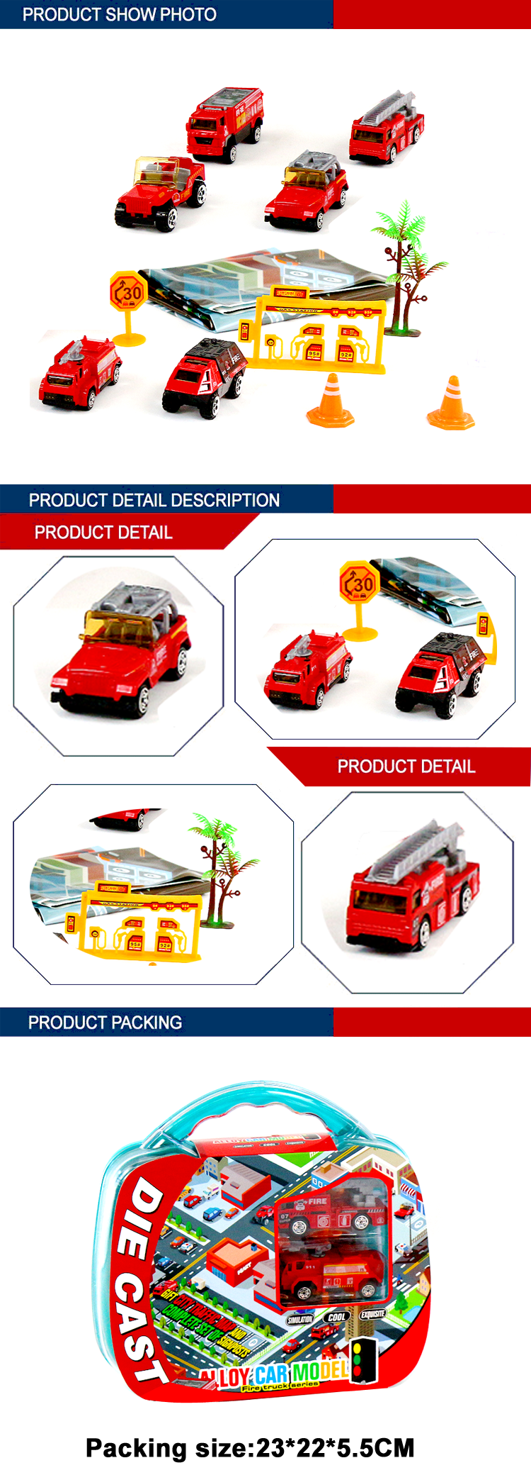 fire set toy slide 1/64 diecast car model with map